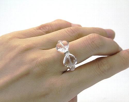 ハートのリボンリング 水晶