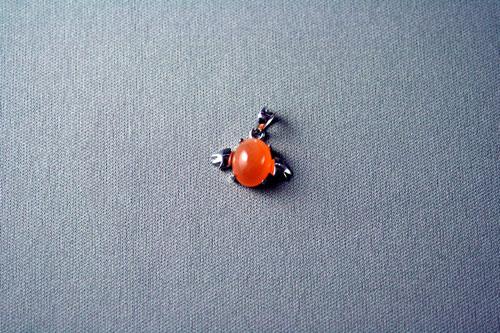 天使のペンダントトップ オレンジ・ムーンストーン オーバル型 SV925 10x8mm前後